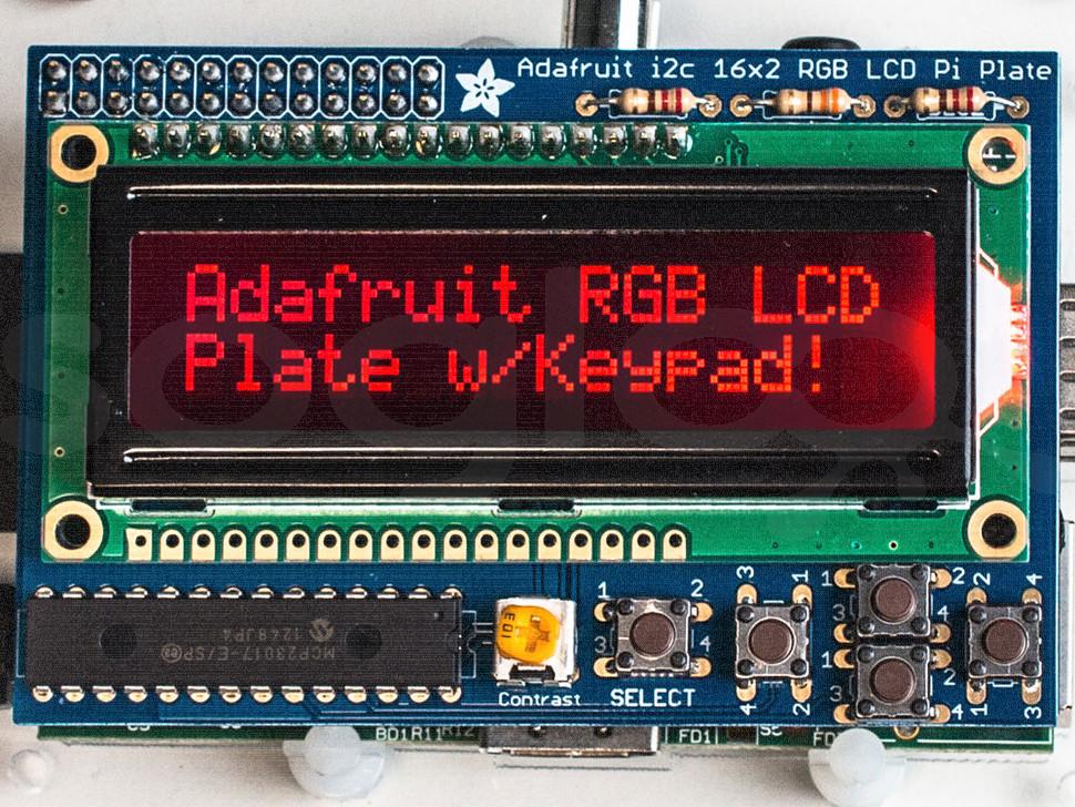 RGB Negative 16x2 LCD+Keypad Kit for Raspberry