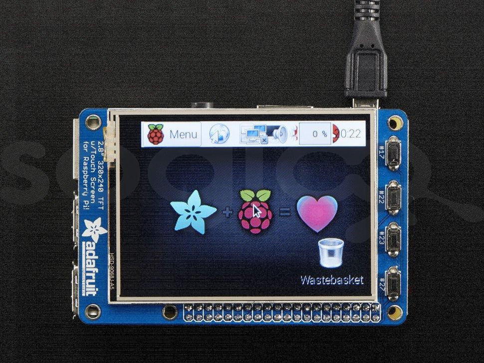 "PiTFT Plus Assembled 320x240 2.8"" TFT + Resistive Touchscreen"